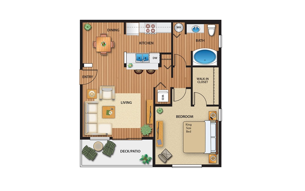 1x1 Flat - 1 bedroom floorplan layout with 1 bath and 720 square feet.