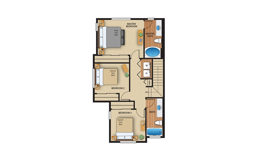 3x2 Townhome - 3 bedroom floorplan layout with 2.5 baths and 1381 square feet. (Floor 2)