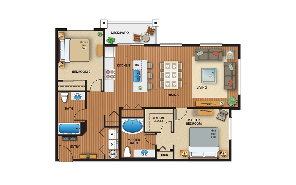 2x2 Flat - 2 bedroom floorplan layout with 2 baths and 1036 to 1045 square feet.