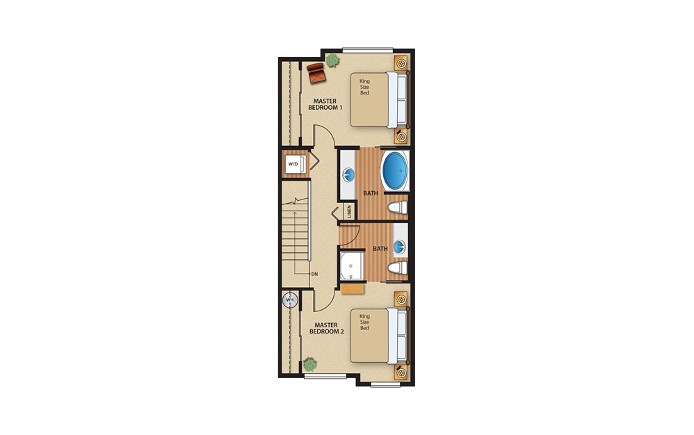 2x2 Townhome - 2 bedroom floorplan layout with 2 baths and 1184 to 1190 square feet. (Floor 2)